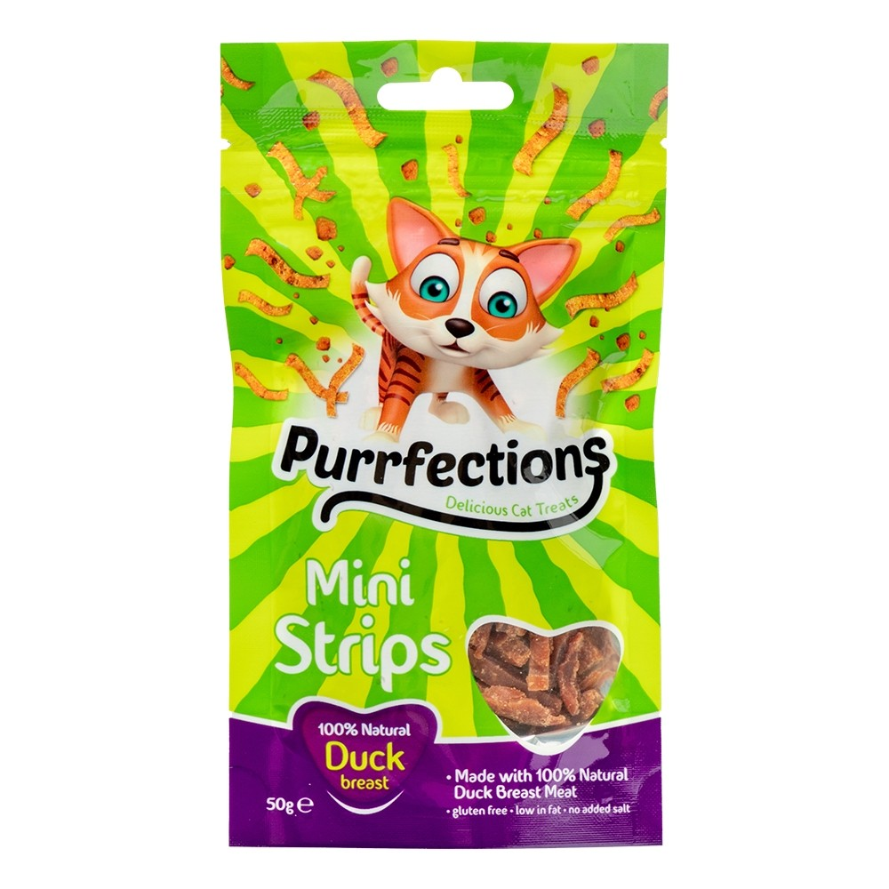 PURRFECTIONS MINI DUCK STRIPS 50G