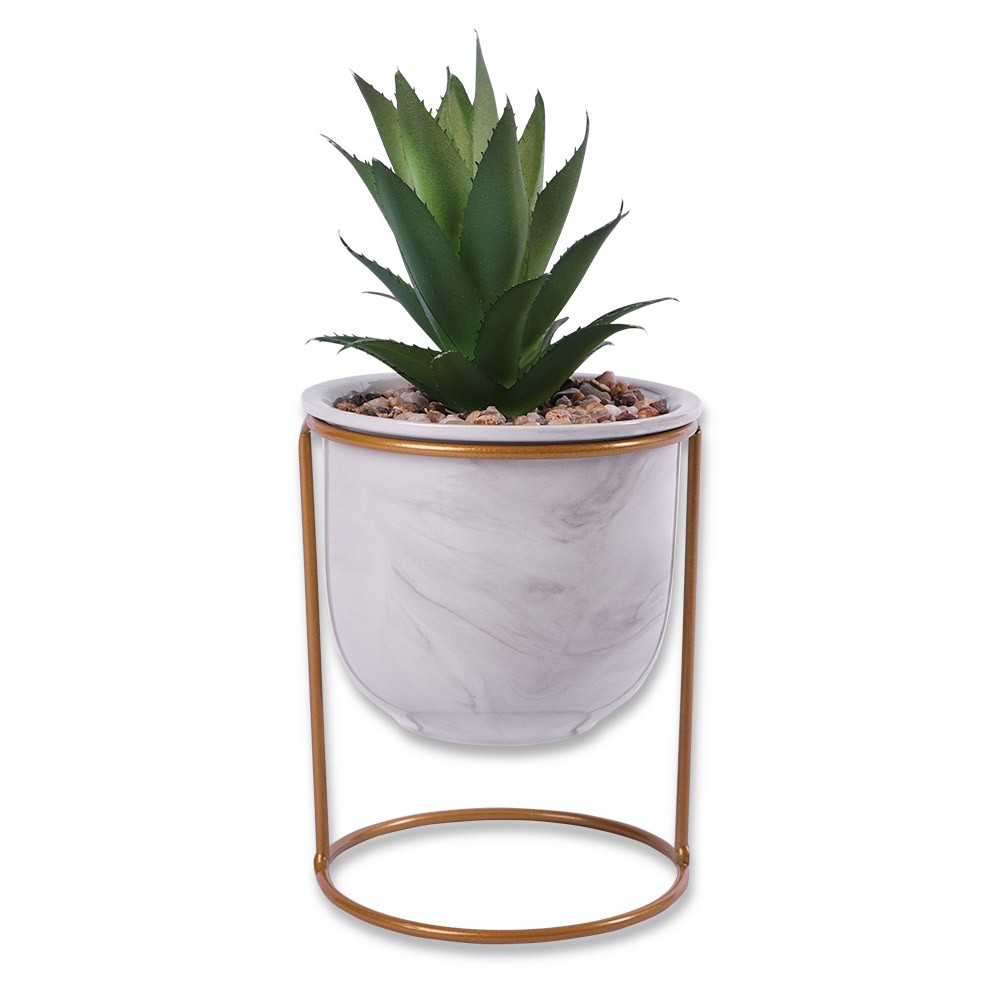 MARBLE POT ON STAND WITH FAKE SUCCULENT WHITE