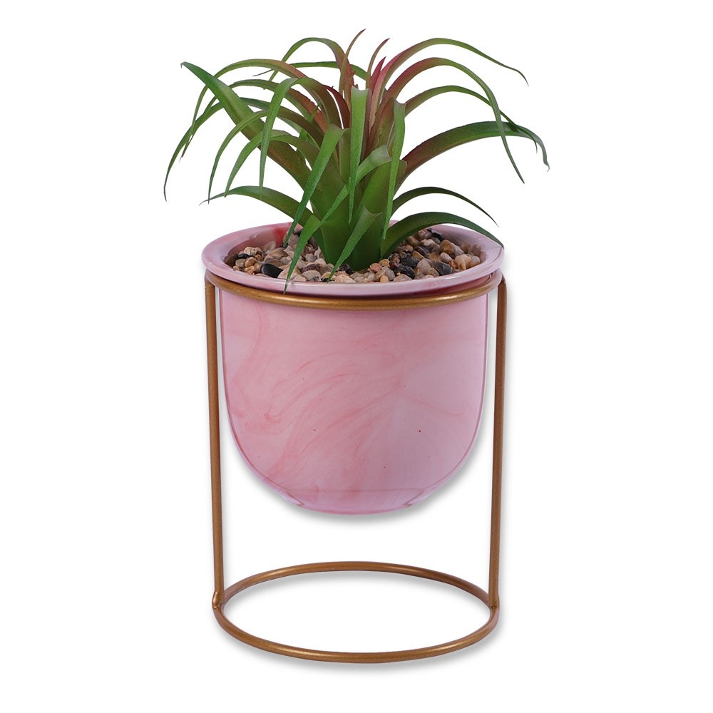 MARBLE POT ON STAND WITH FAKE SUCCULENT PINK