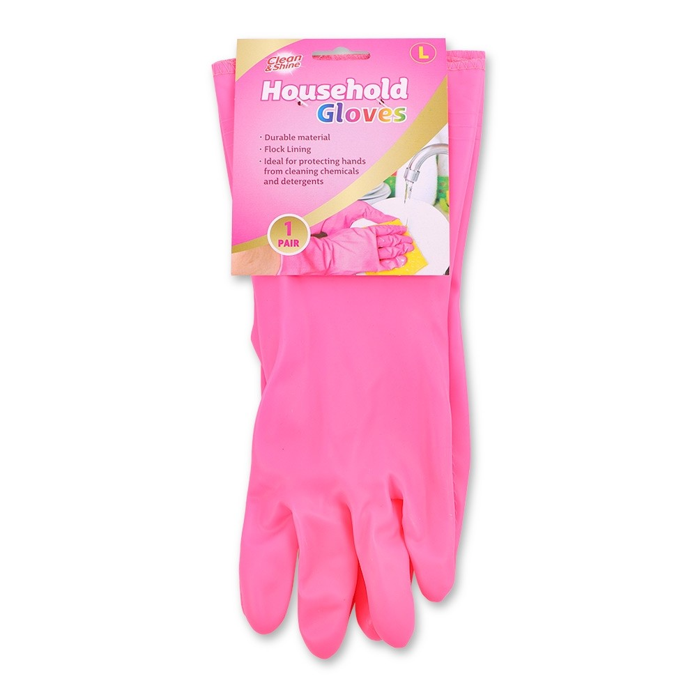 CLEAN & SHINE LARGE PINK HOUSEHOLD GLOVES