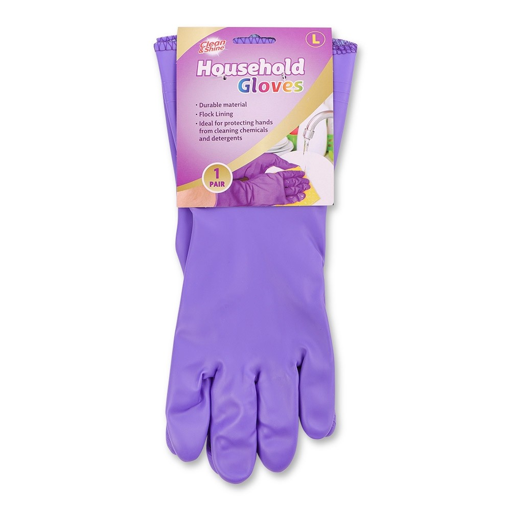 CLEAN & SHINE LARGE PURPLE HOUSEHOLD GLOVES