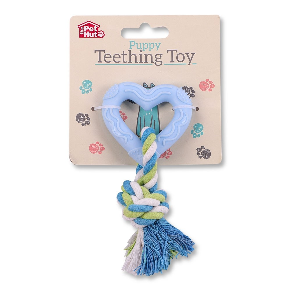 BLUE HEART PUPPY TEETHING TOY
