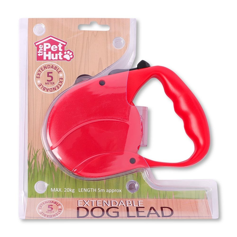 RED 5M EXTENDABLE DOG LEAD