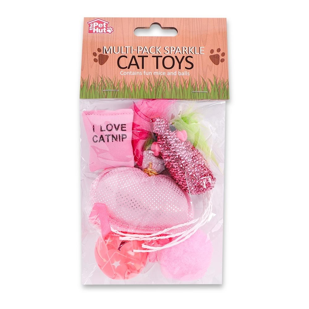 5 PACK PINK SPARKLE CAT TOYS