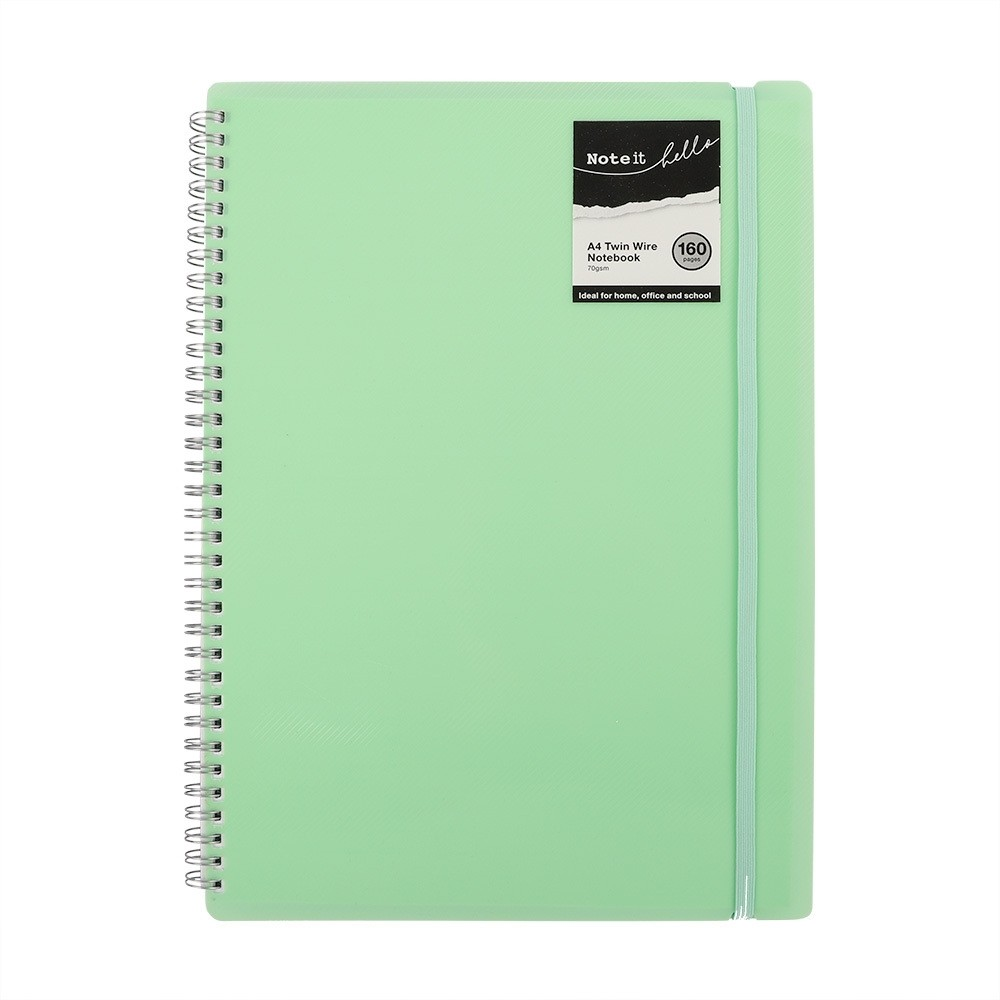 A4 TWIN WIRE NOTE BOOK GREEN