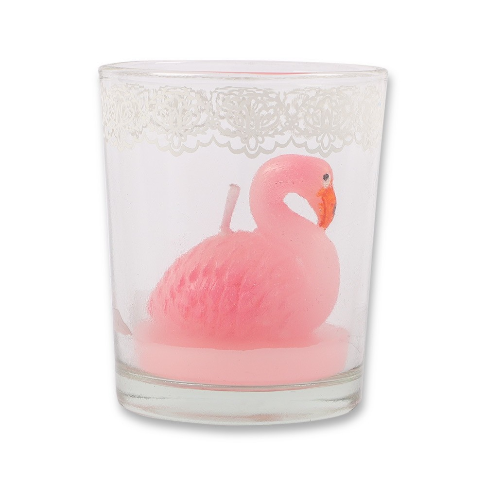 FLAMINGO CANDLE IN GLASS