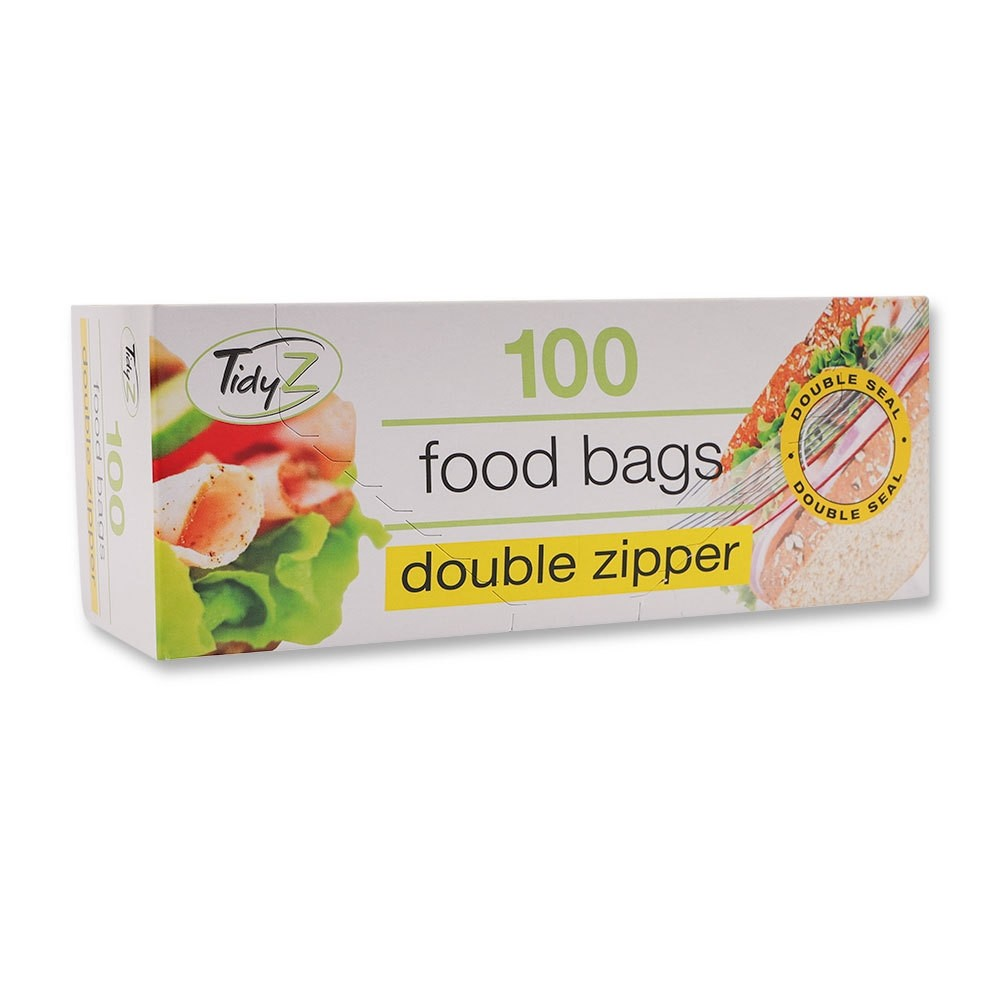 DOUBLE ZIPPER FOOD BAGS 100 PACK