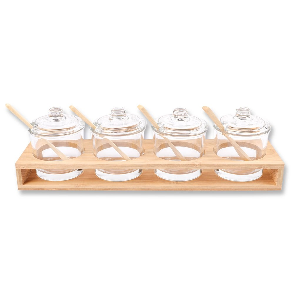 GLASS & BAMBOO 4PC SERVING SET