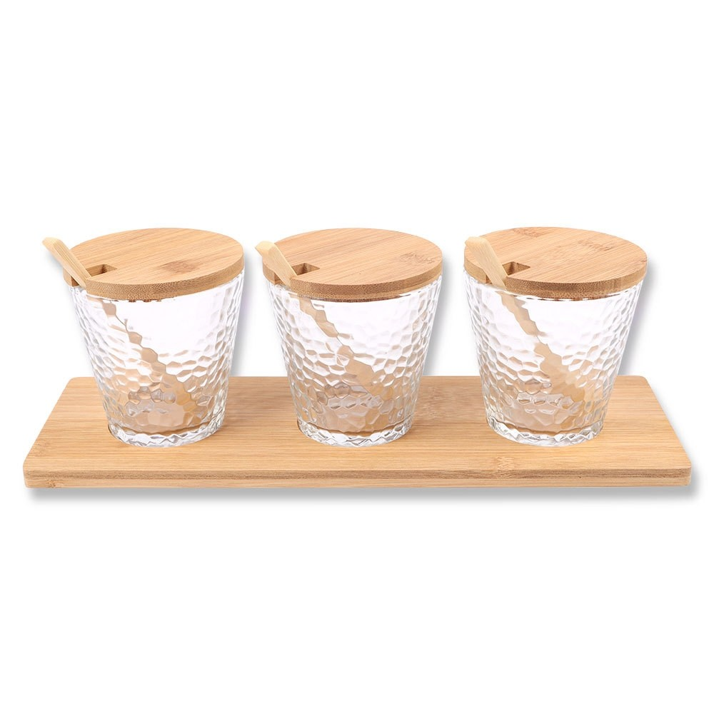 GLASS & BAMBOO 3PC SERVING SET
