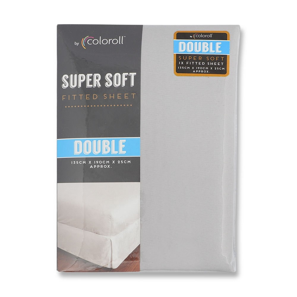 COLOROLL MICROFIBRE SILVER DOUBLE FITTED SHEET