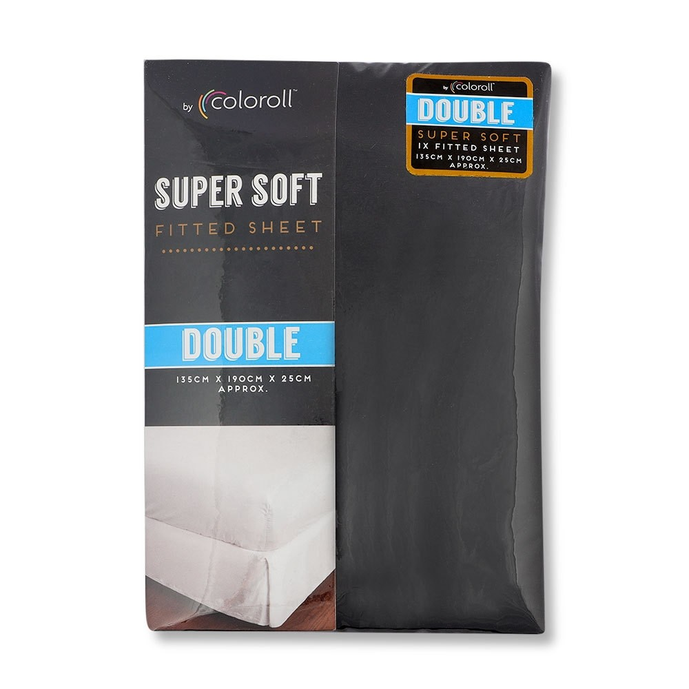 COLOROLL MICROFIBRE BLACK DOUBLE FITTED SHEET