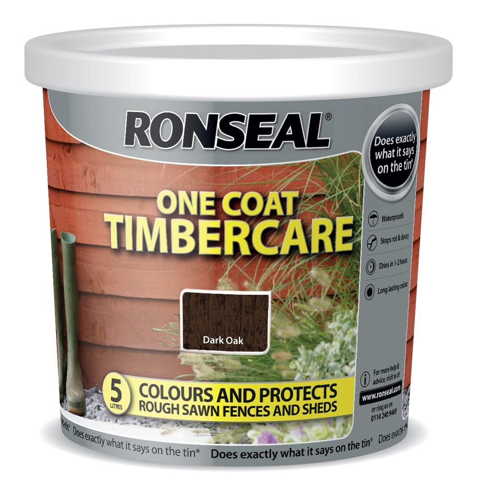 RONSEAL 5 LITRE TIMBERCARE FENCE PAINT DARK OAK
