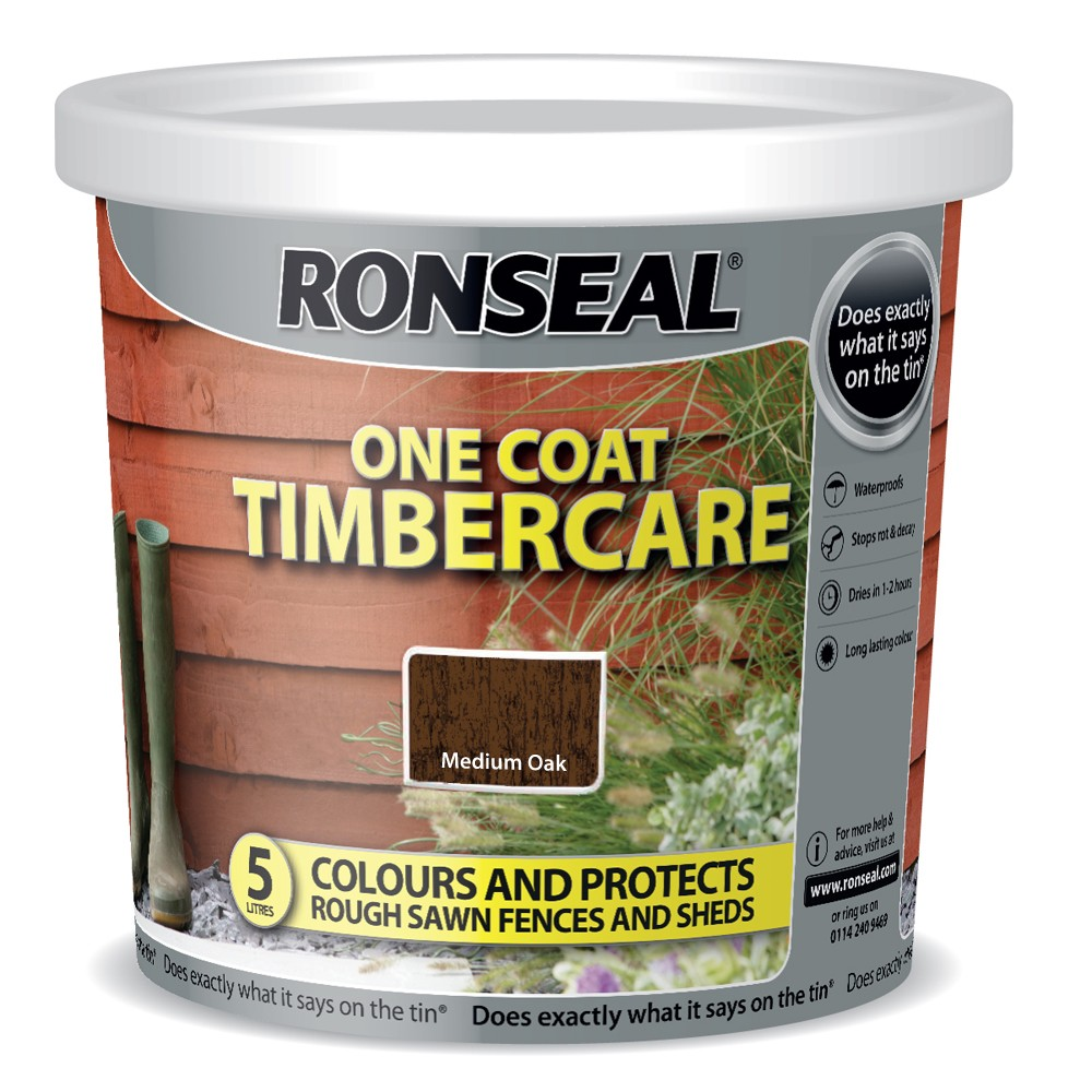 RONSEAL 5 LITRE TIMBERCARE FENCE PAINT MEDIUM OAK