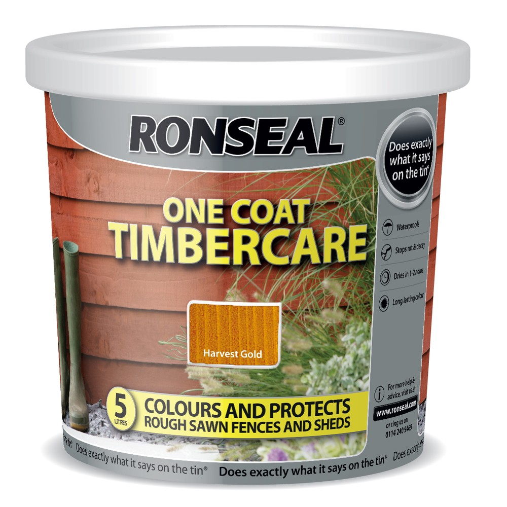 RONSEAL 5 LITRE TIMBERCARE FENCE PAINT HARVEST GOLD