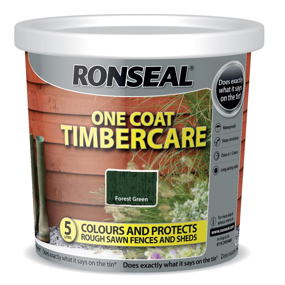 RONSEAL 5 LITRE TIMBERCARE FENCE PAINT FOREST GREEN