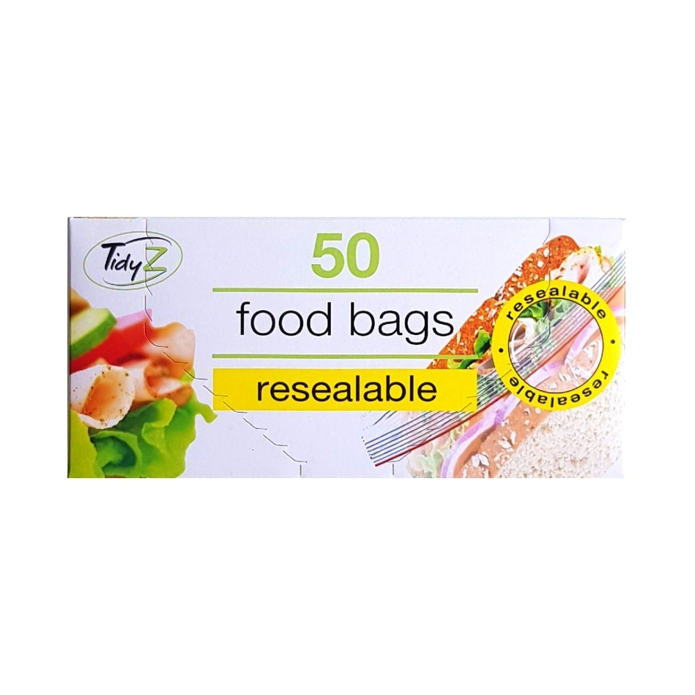 50 TIDY RESEALABLE FOOD BAGS