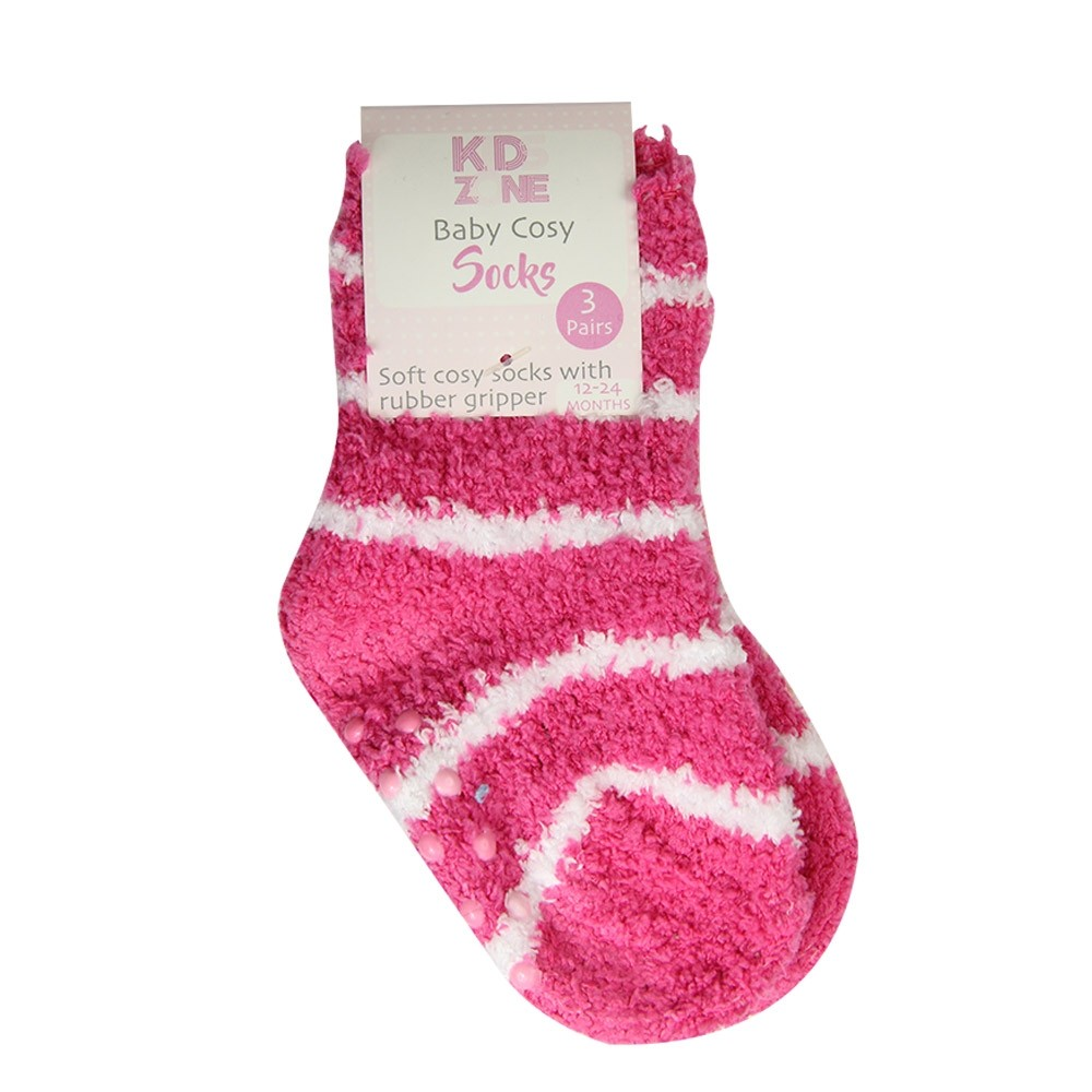 BABY COSY SOCKS 3 PACK - PINK