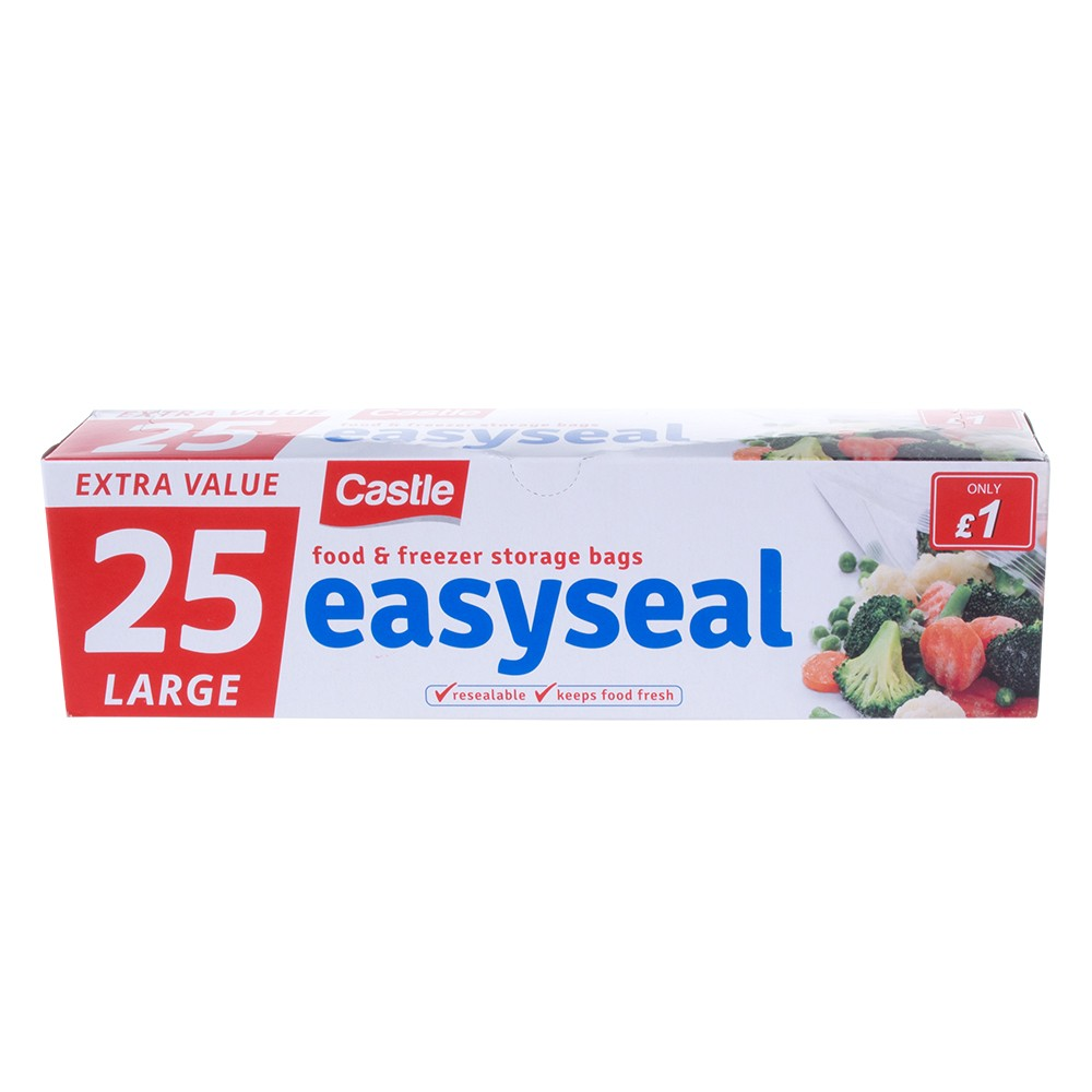 25 LARGE RESEALABLE FOOD AND FREEZER STORAGE BAGS