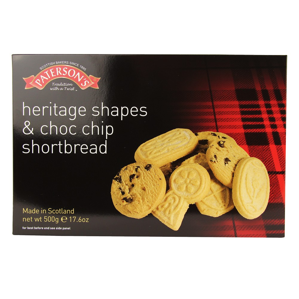 PATERSON'S HERITAGE SHAPES & CHOC CHIP SHORTBREADS 500G