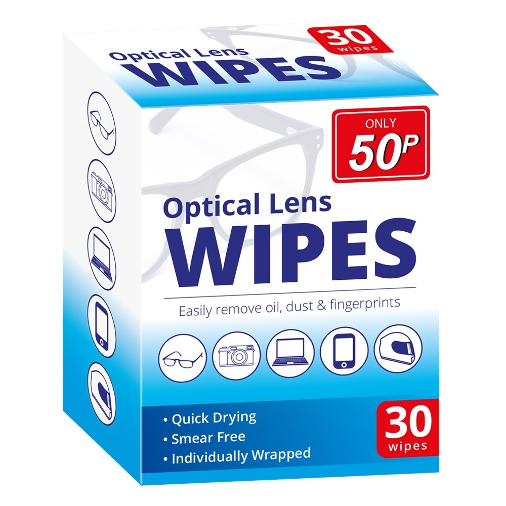 30 PACK OPTICAL LENS WIPES