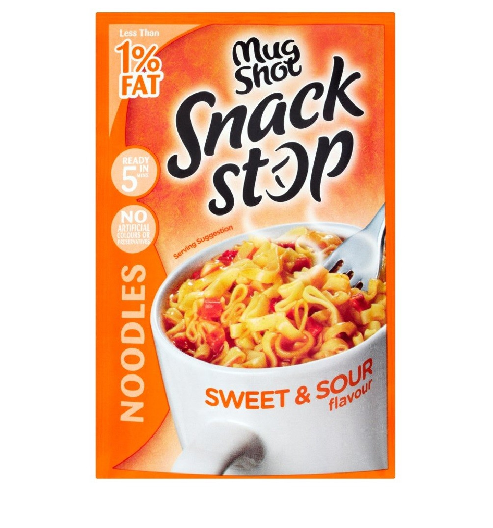 MUG SHOT SNACK STOP SWEET AND SOUR NOODLES 60G
