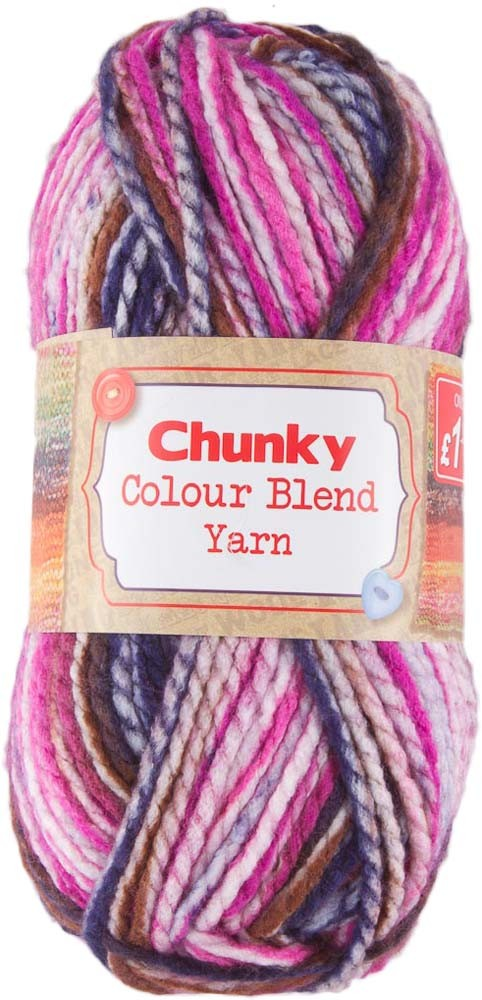 COLOUR BLEND CHUNKY YARN 1x100g - PINK AND BLUE MIX