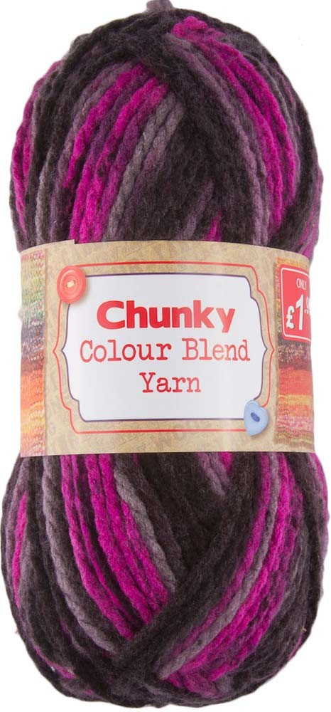 COLOUR BLEND CHUNKY YARN 1x100G - PINK AND BROWN MIX