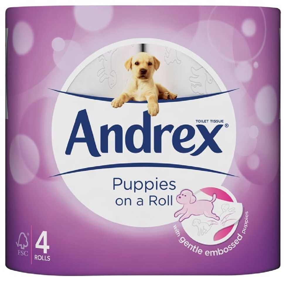 ANDREX GENTLE CLEAN PUPPIES ON A ROLL 4 TOILET ROLLS
