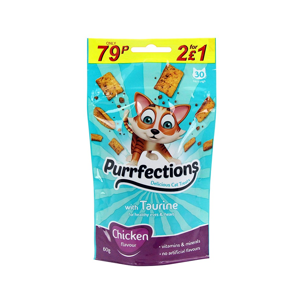 PURRFECTIONS CAT TREATS CHICKEN 60G
