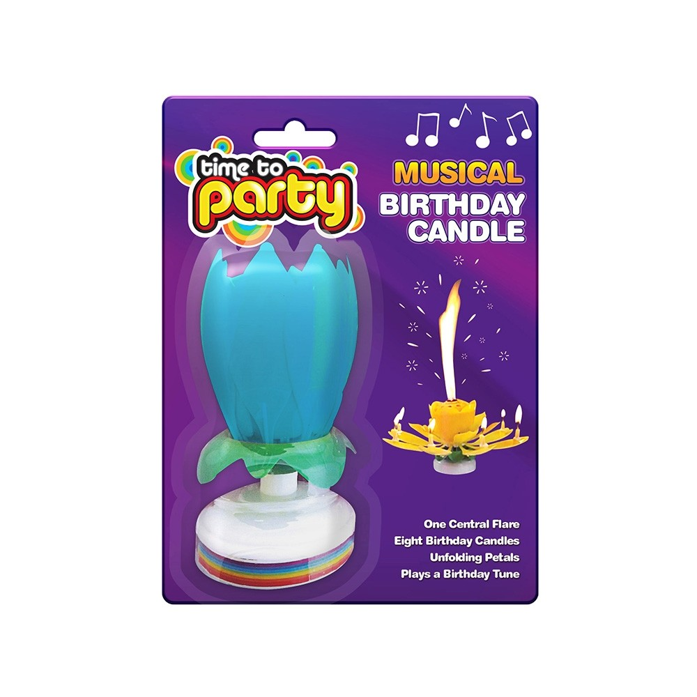 BLUE LOTUS MUSICAL BIRTHDAY CANDLE