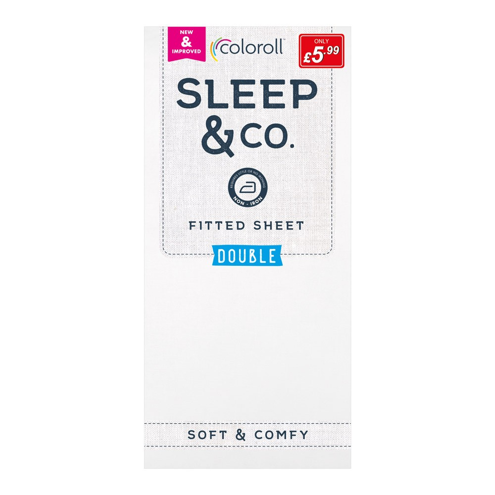 DOUBLE WHITE COLOROLL FITTED SHEET