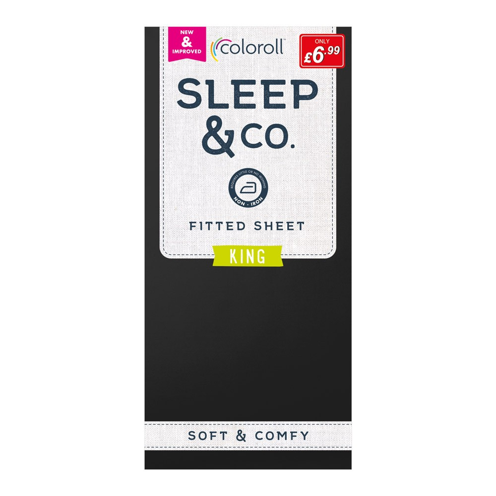 KING SIZE BLACK COLOROLL FITTED SHEET
