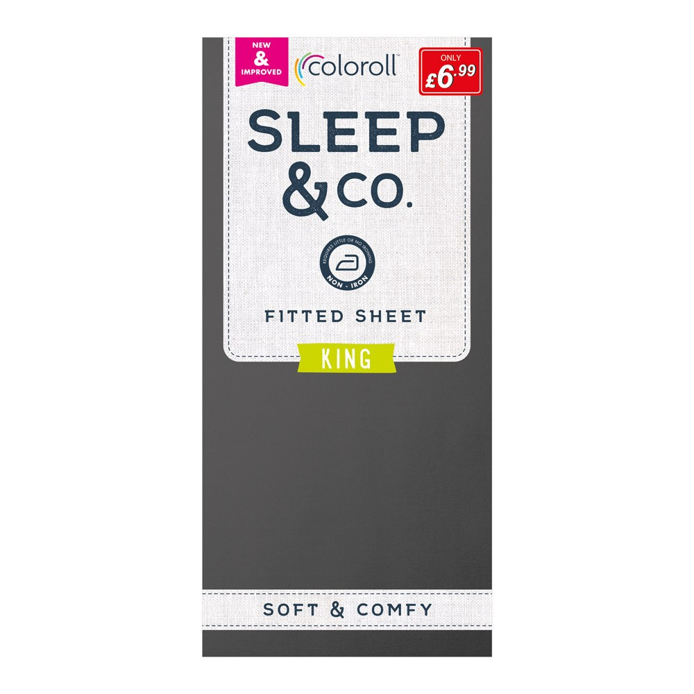 KING SIZE SLATE COLOROLL FITTED SHEET