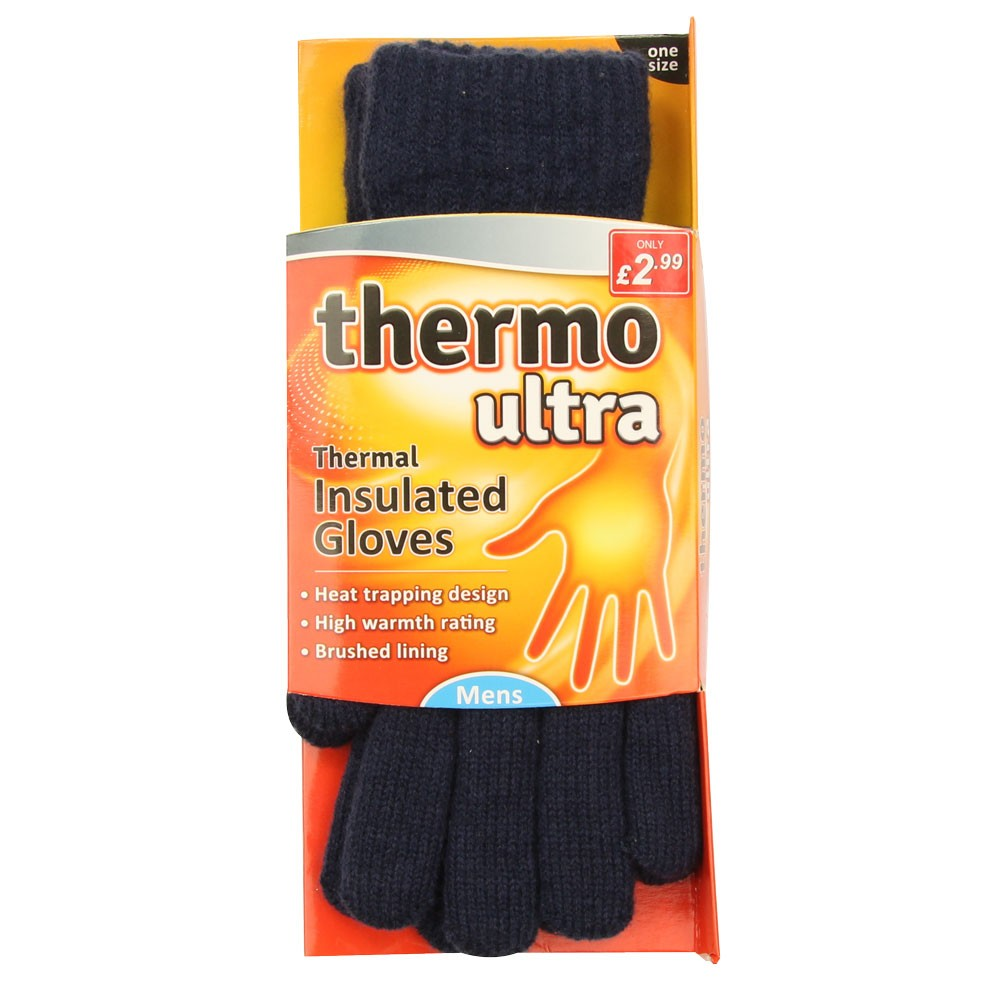 MENS NAVY THERMO ULTRA GLOVES