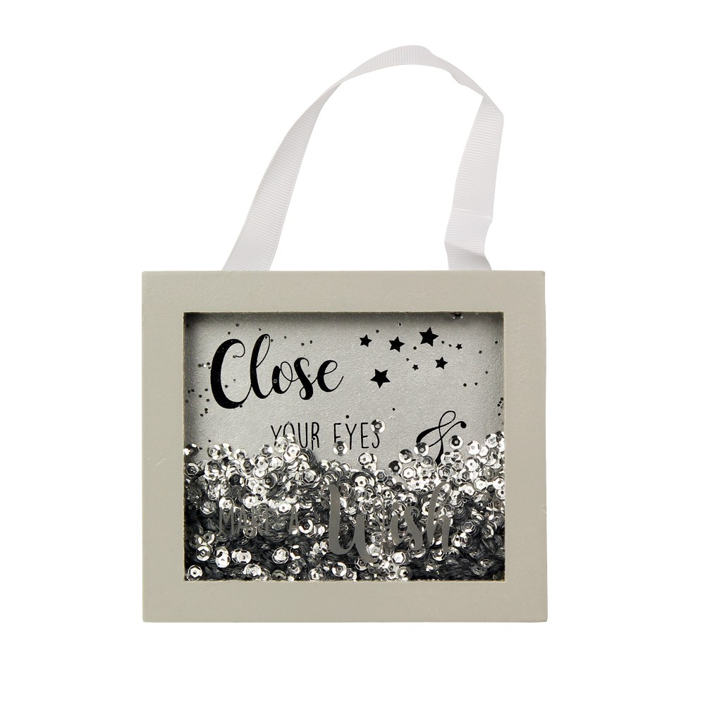 'CLOSE YOUR EYES & MAKE A WISH' GREY & SILVER SPARKLE FRAME