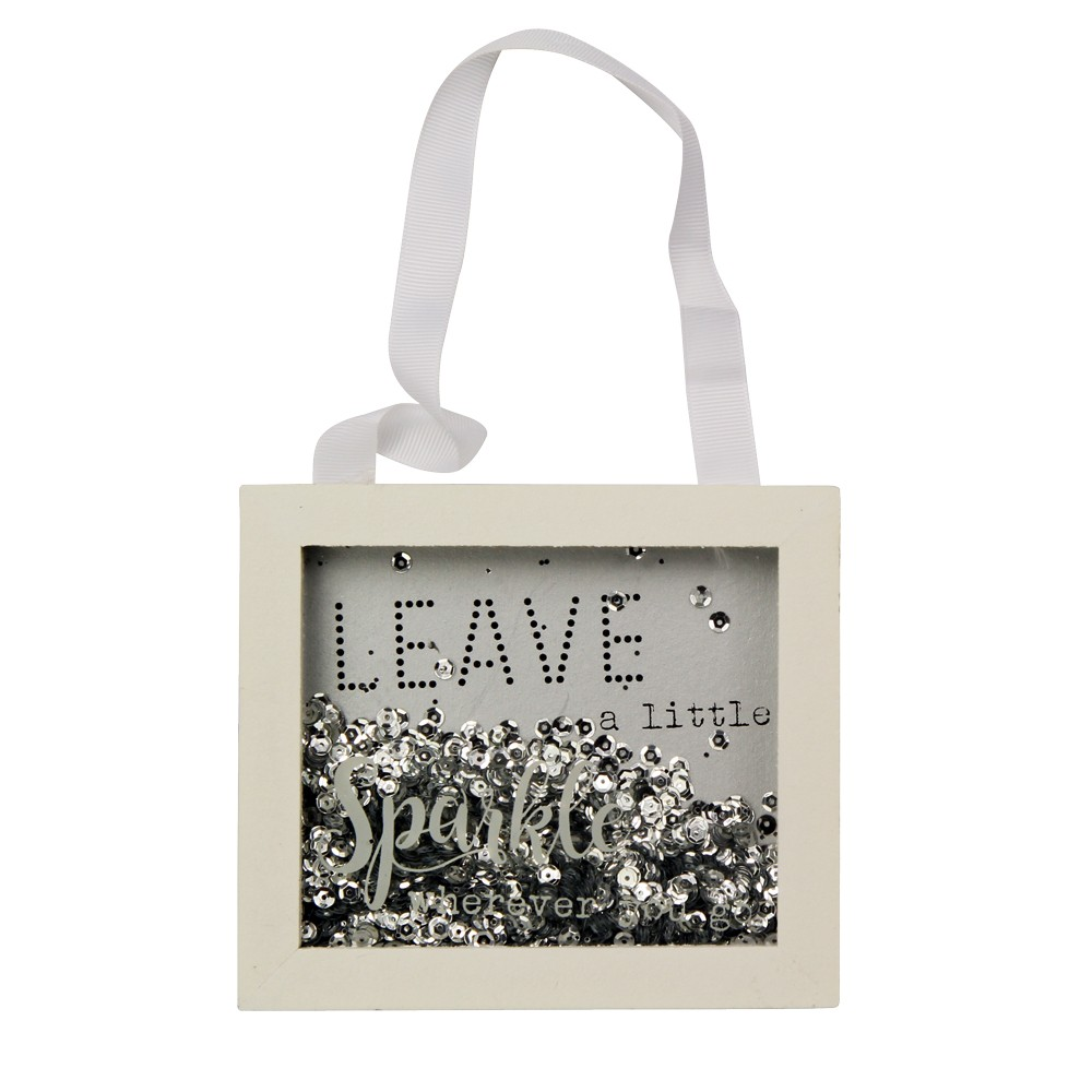 'LEAVE A LITTLE SPARKLE' GREY & SILVER SPARKLE FRAME