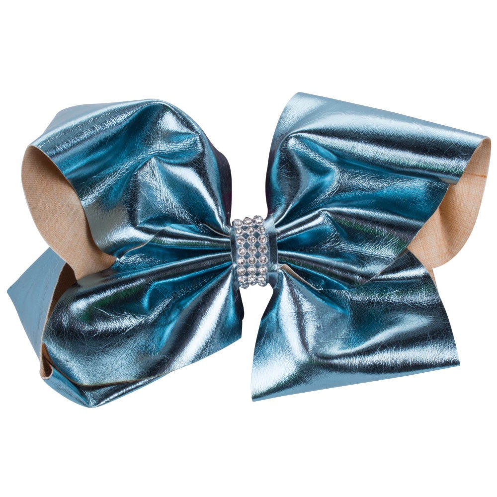 LARGE BLUE DIAMANTE FAUX LEATHER BOW&CO BOW