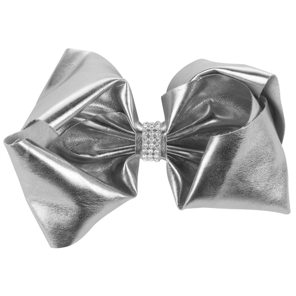 LARGE SILVER DIAMANTE FAUX LEATHER BOW&CO BOW