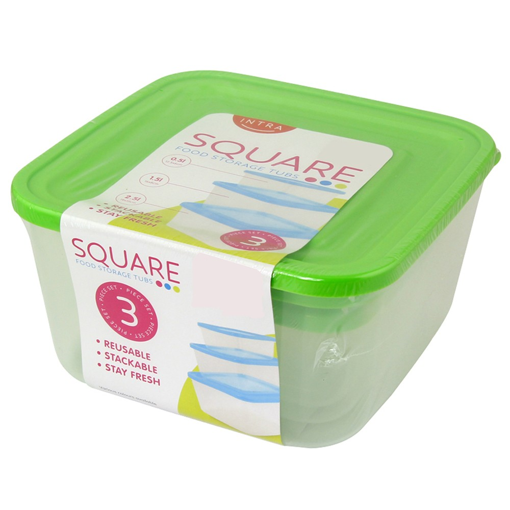 GREEN 3PC SET SQUARE FOOD CONTAINERS