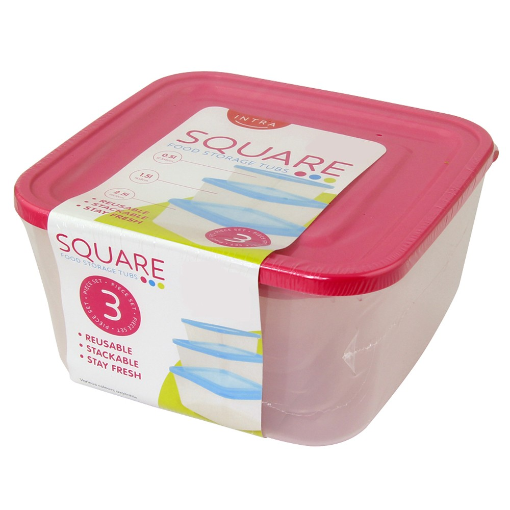 PINK 3PC SET SQUARE FOOD CONTAINERS
