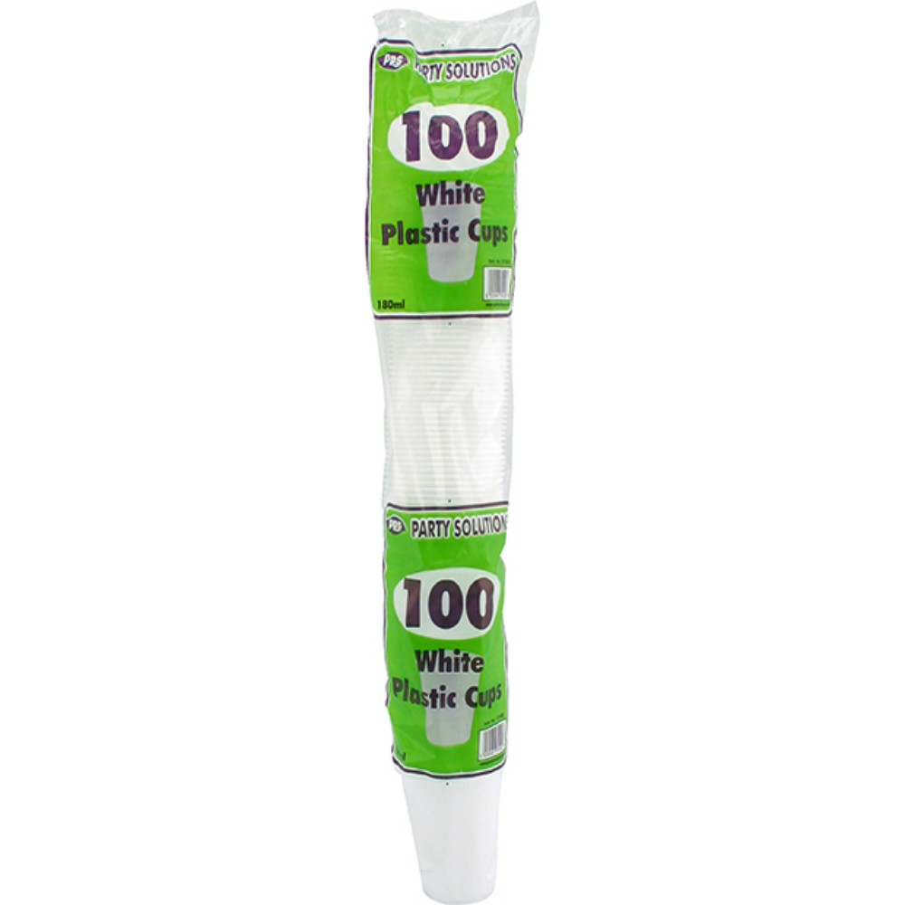 100 WHITE DISPOSABLE PLASTIC CUPS 180ML