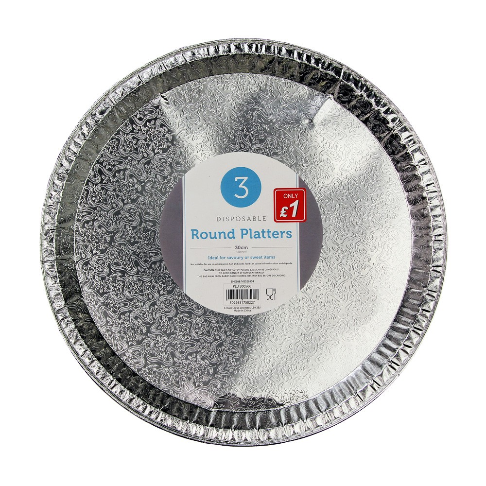 3 PACK ROUND FOIL PLATTERS