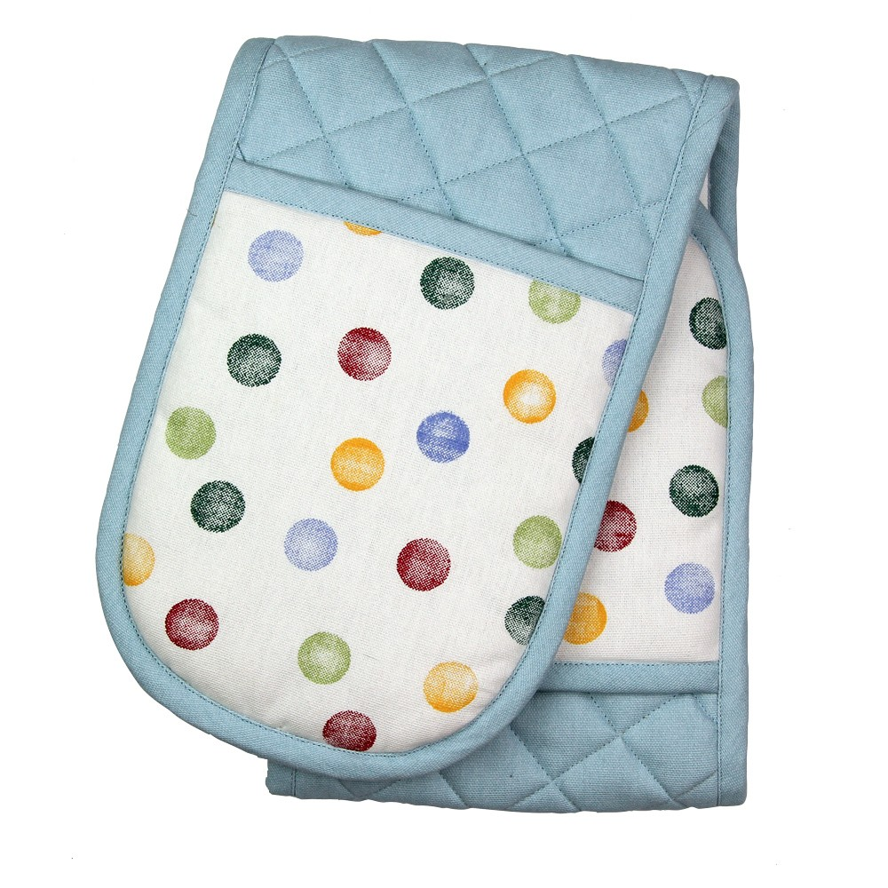 DOUBLE OVEN GLOVE - BLUE DOTTY