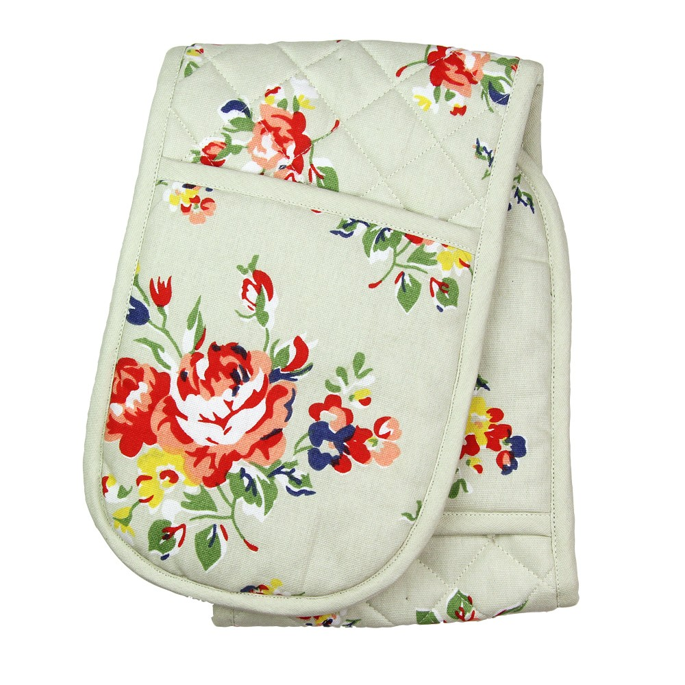DOUBLE OVEN GLOVE - CREAM FLORAL