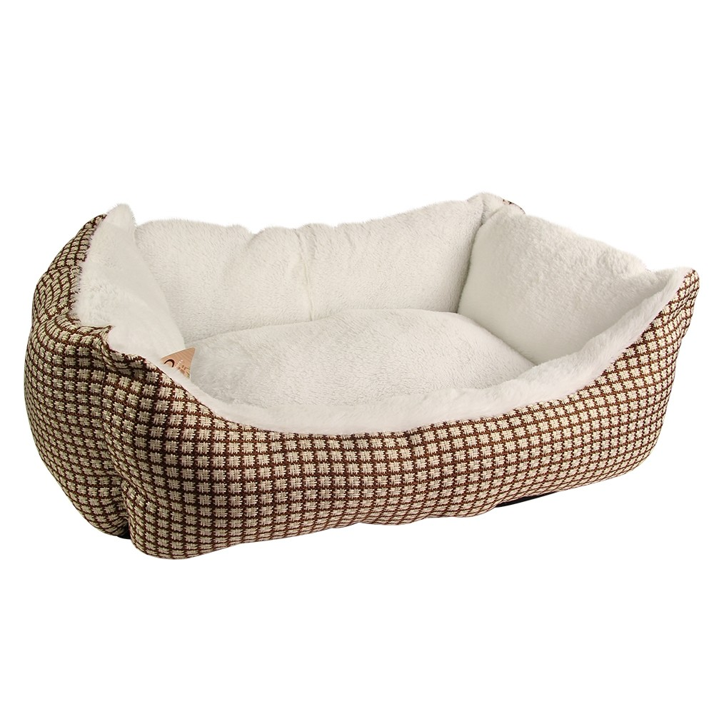 BROWN LUXURY SQUARE PET BED
