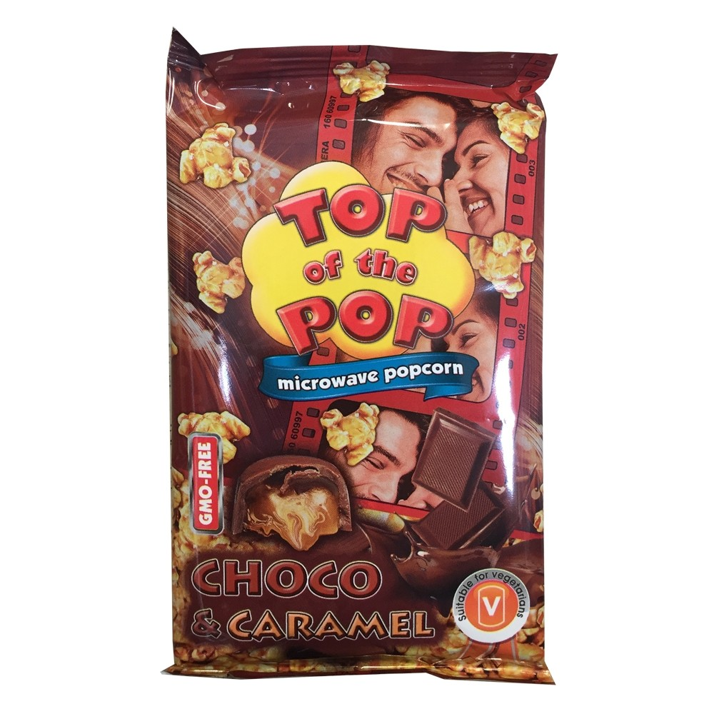 TOP OF THE POPS CHOCOLATE & CARAMEL MICROWAVE POPCORN