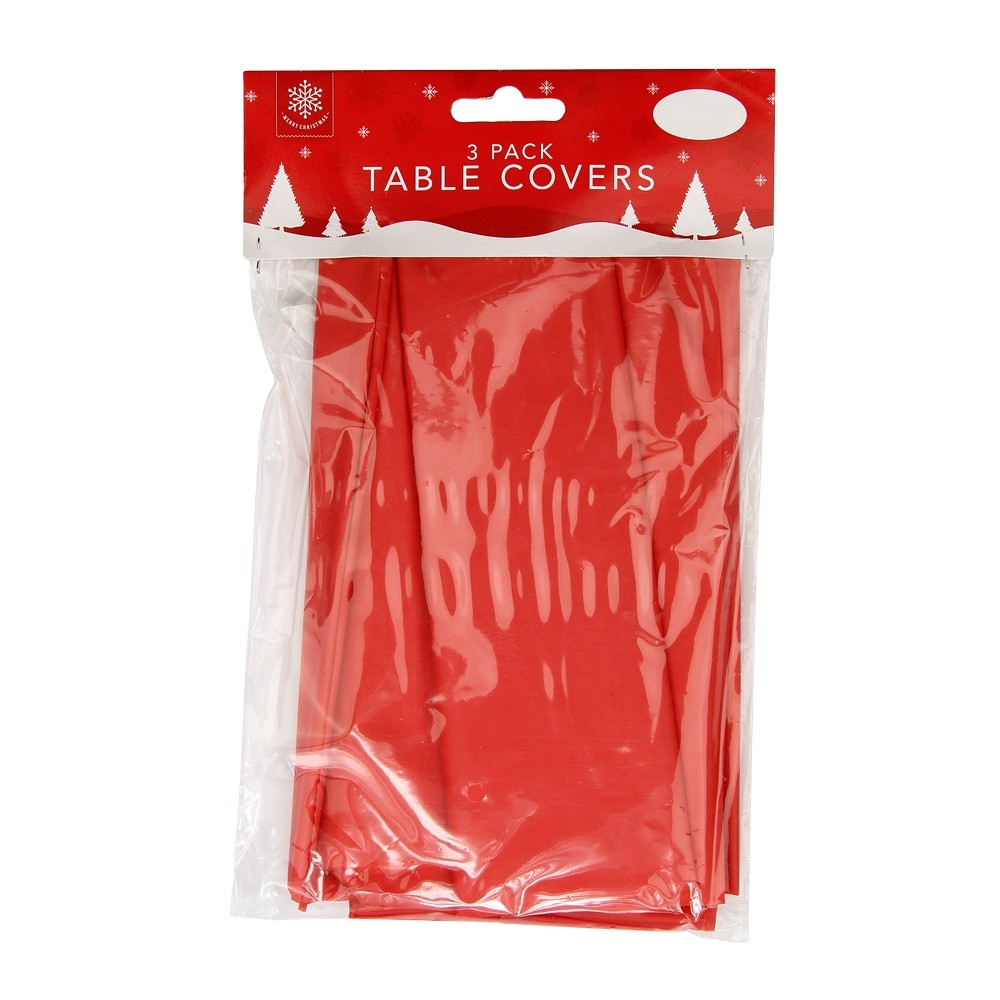 3 RED CHRISTMAS TABLE COVERS