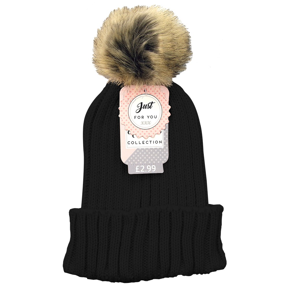 LADIES POM POM KNITTED HAT – BLACK