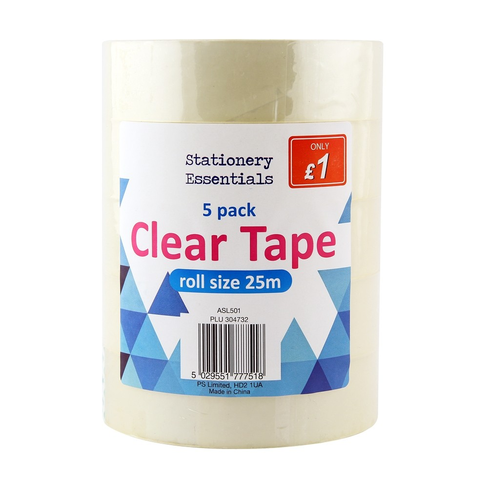 5 PACK CLEAR TAPE ROLLS