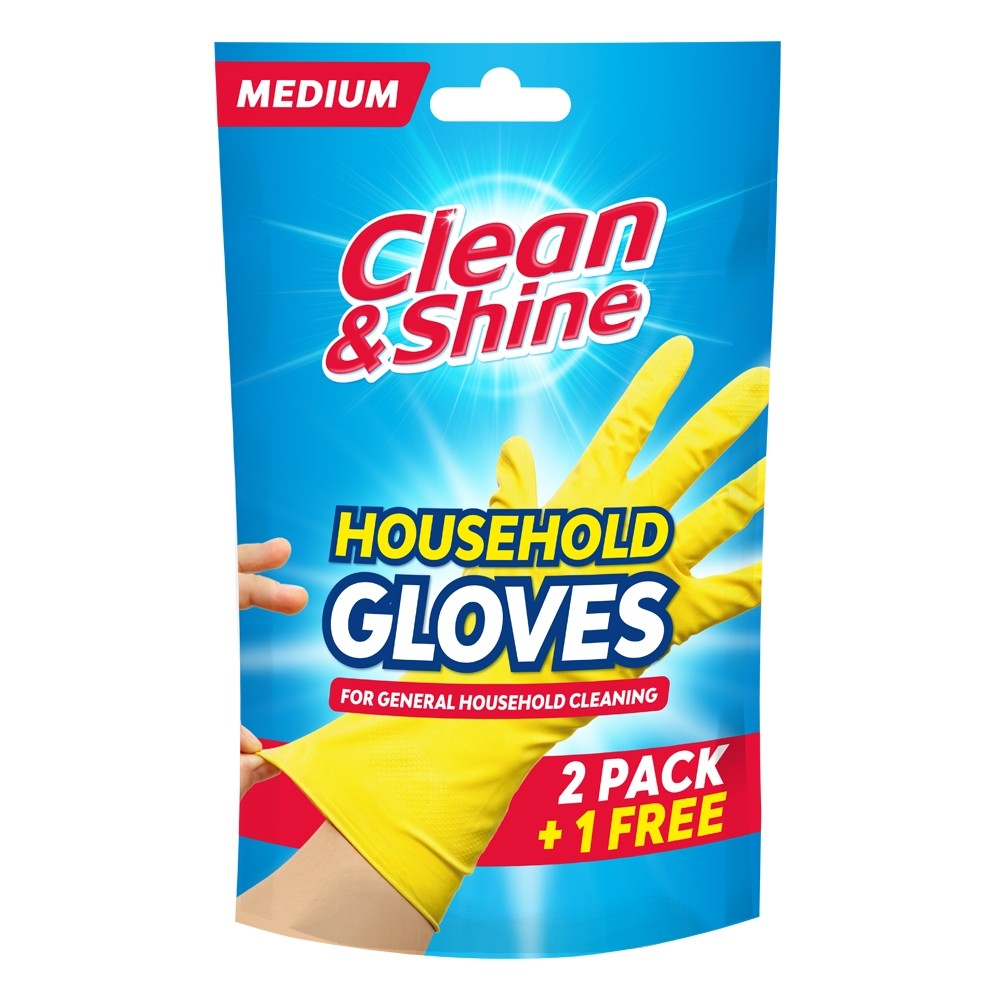 MEDIUM YELLOW RUBBER GLOVES 2 PACK + 1 FREE